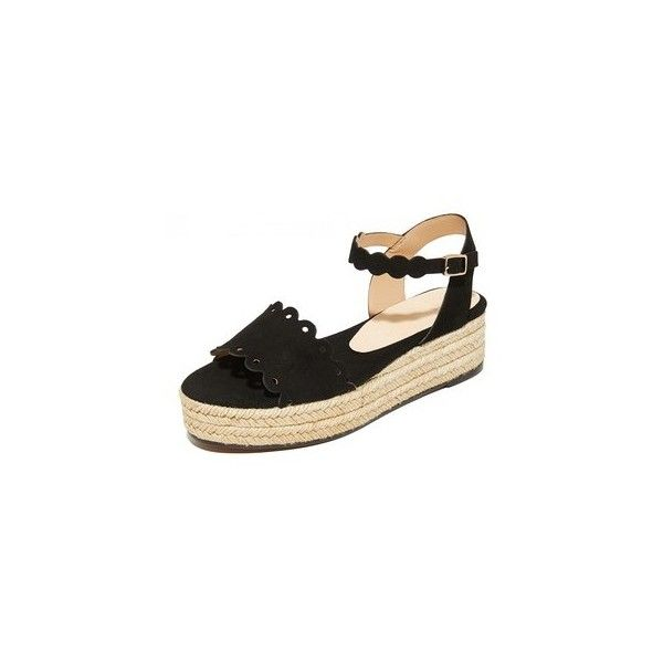 Castaner Ana Wedge Flatforms (335 AUD) ❤ liked on Polyvore featuring shoes, sandals, black, leather sandals, black wedge heel sandals, espadrille wedge sandals, black platform sandals and woven leather sandals