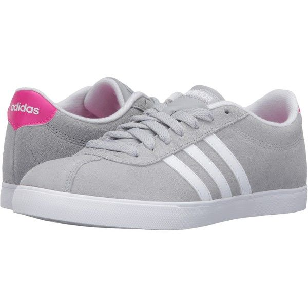 adidas Courtset (Clear Onix/White/Shock Pink) Women's Lace up casual.