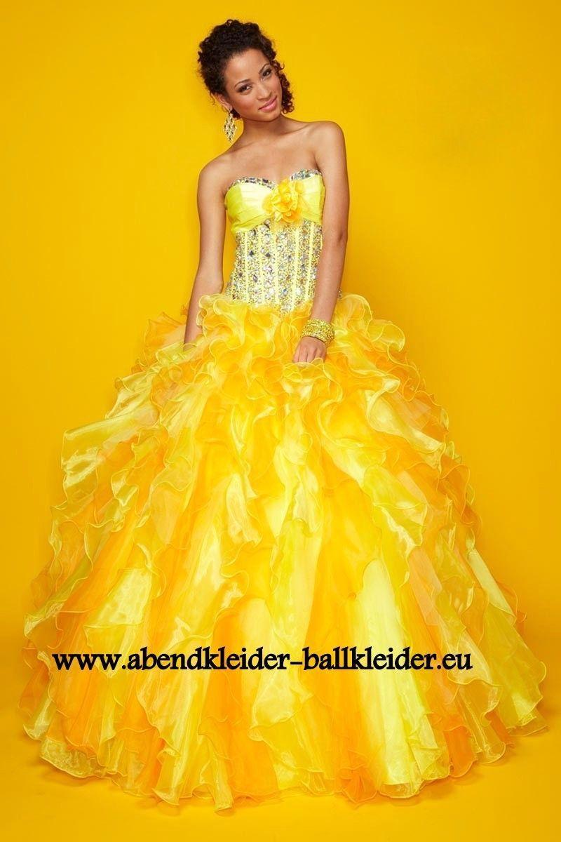 Gala Abendkleid Ballkleid in Gelb  Ballkleid, Abendkleid, Hübsche
