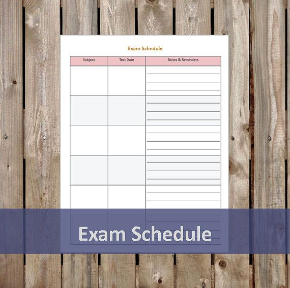 Exam Schedule - Student Planner - Printable/Editable PDF - Student