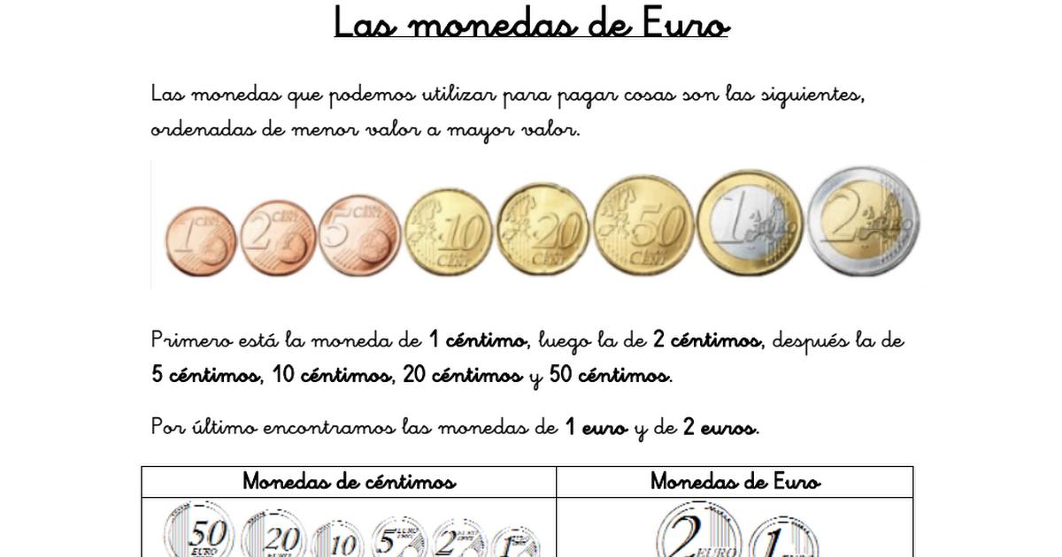 CONTANDO MONEDAS.pdf | matemáticas euros | Pinterest | Contar ...