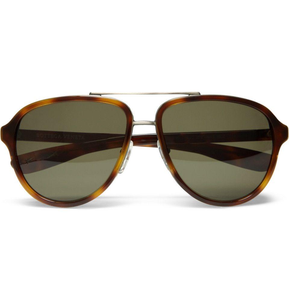 Aviator-style Tortoiseshell Acetate Sunglasses Bottega Veneta efA57