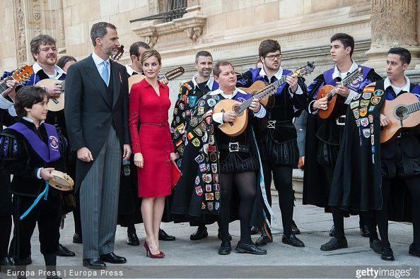 King Felipe of Spain and Queen Letizia of Spain attended Cervantes Award Ceremony at Alcala de Henares University on April 23, 2015 in Alcala de Henares, Spain.