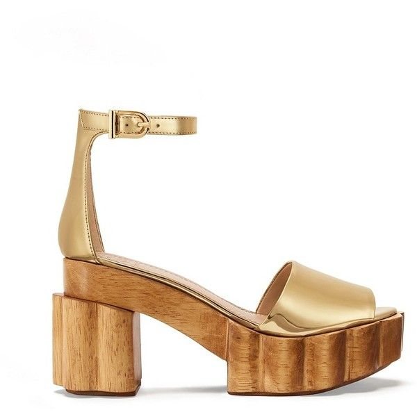Tory Burch Alma Metallic Platform Sandals ($595) ❤ liked on Polyvore featuring shoes, sandals, gold, block heel shoes, metallic shoes, platform sandals, platform shoes and ankle tie sandals