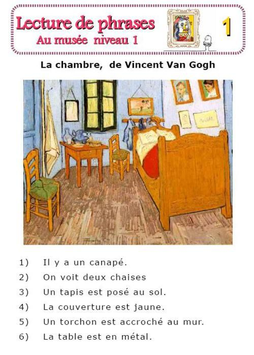 Van Gogh   Vocabulaire De Chambre Reading Comprehension Exercise In French  Using Famous Paintings.