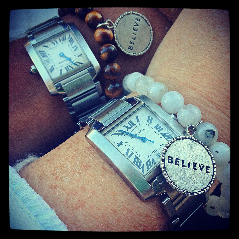 Twins! Moonstone and tiger eye believe bracelets