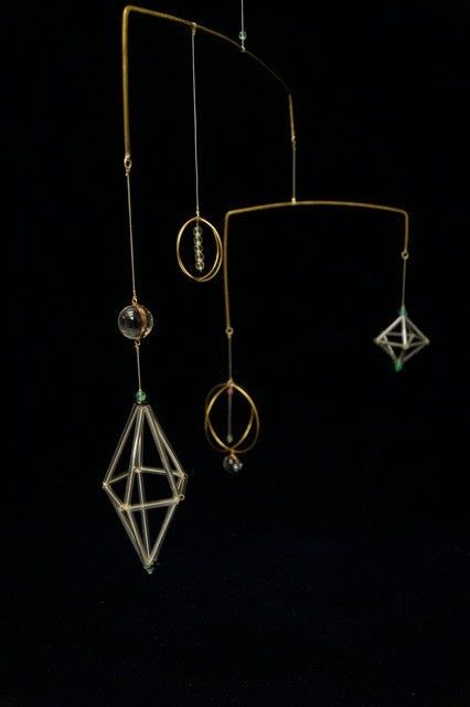 "glass brass mobile <cosmos> - ""響"" handcraft"