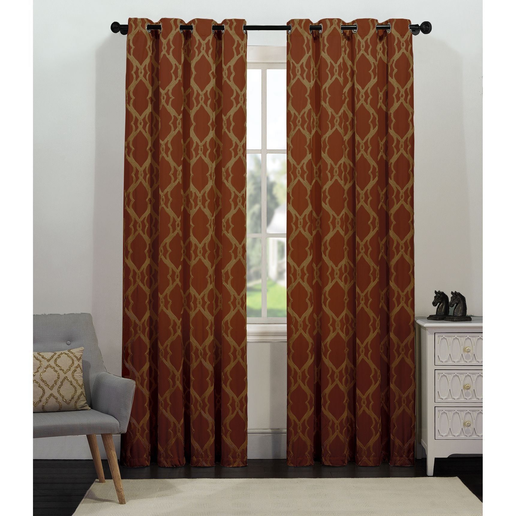 Artistic linen tangier grommettop window curtain panel products