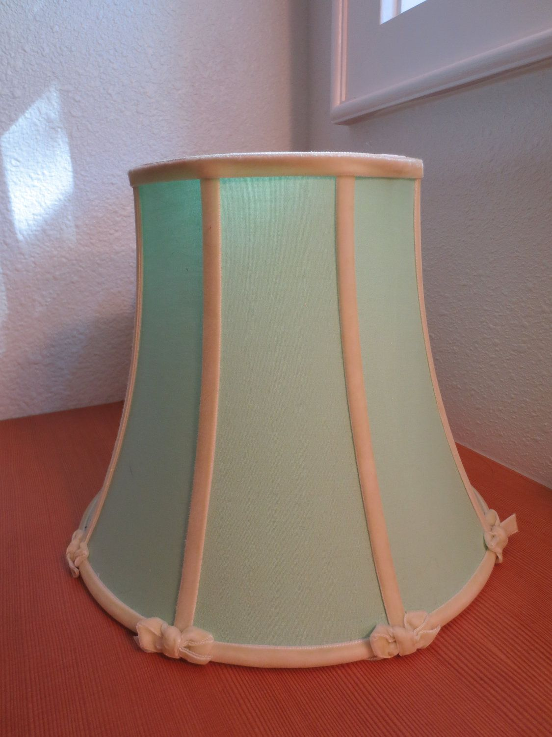 Vintage Mint Green Boudoir Lamp Shade Velvet Bows And Trim Mint Green Linen 1940s Or 1950s Abat Jour Abat