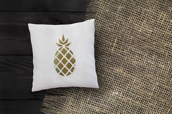 Gold Pineapple On White Decorative Throw Pillow Case Etsy Homemade Mesmerizing Homemade Decorative Pillows
