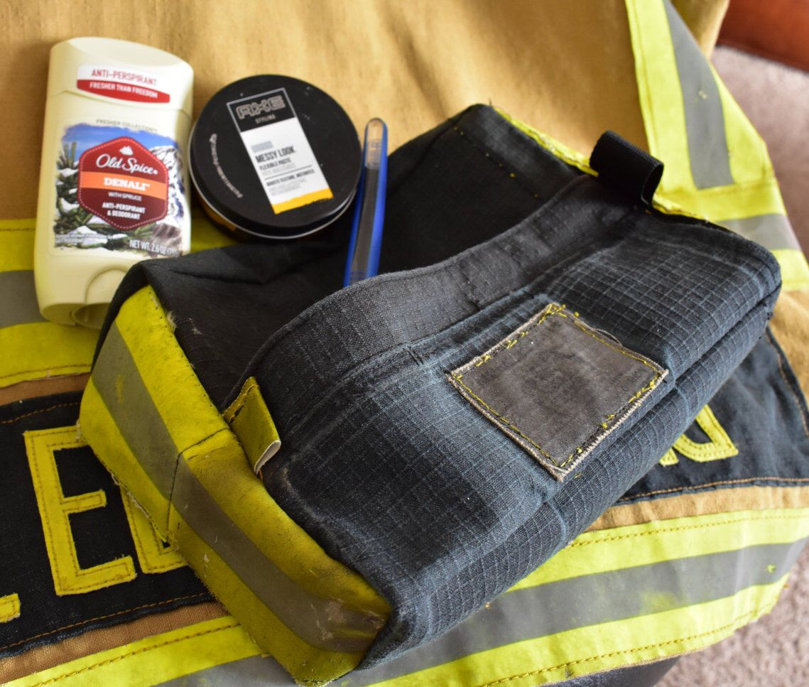 Recycled bunker gear bags - Firefighter Gifts Custom Embroidered Shaving Bag Made Of Turnout Gear By Upcycled Firefighter Profits