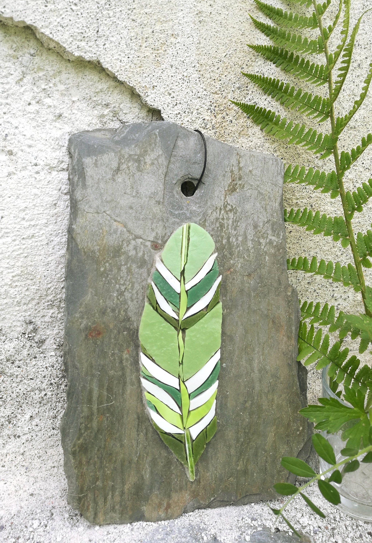 LUMA VERDE x 3, ensemble de 3 plumes, fine art, mosaic wall art, 3d wall art, oiseau, mosaique de verre, ardoises à suspendre, végétal