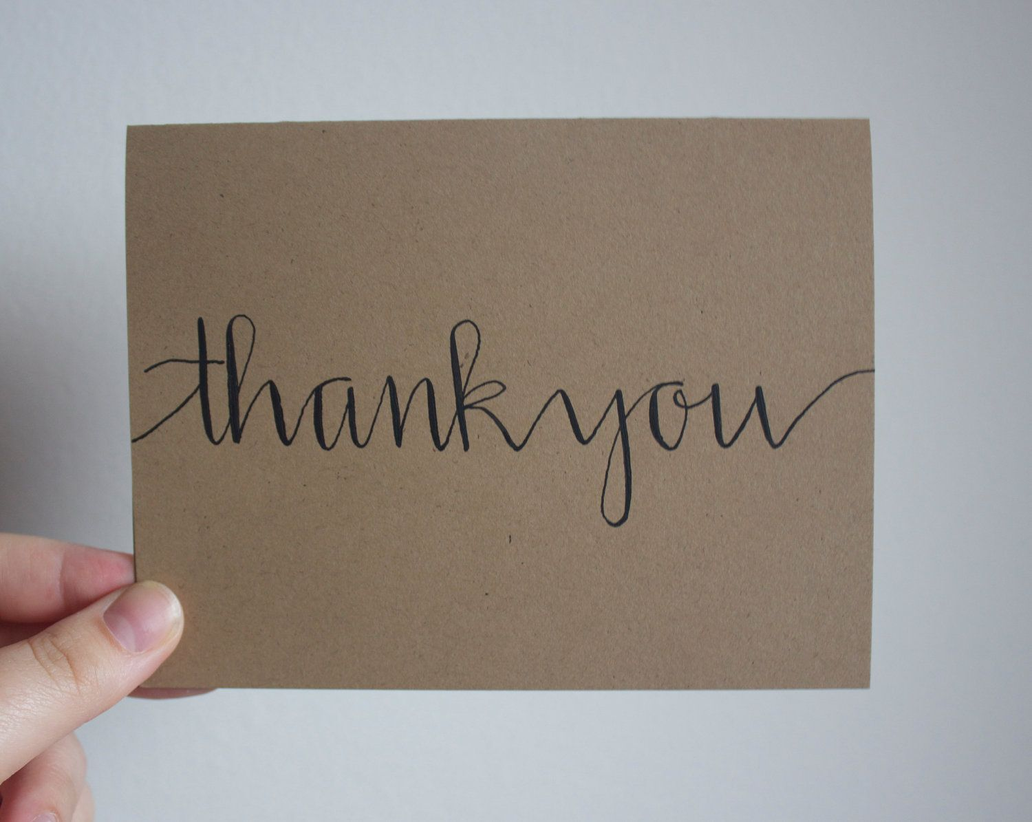 Thank you card blank hand calligraphed black