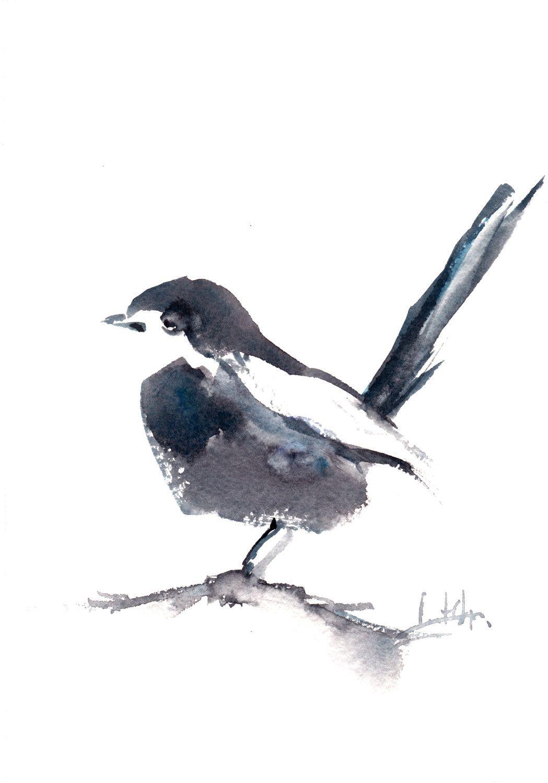 bird painting original watercolor painting grey bird minimalist rh pinterest com
