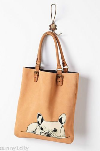 NWT-Anthropologie-French-Bulldog-Tote-by-Donna-McKenzie-Leather-cotton-lining