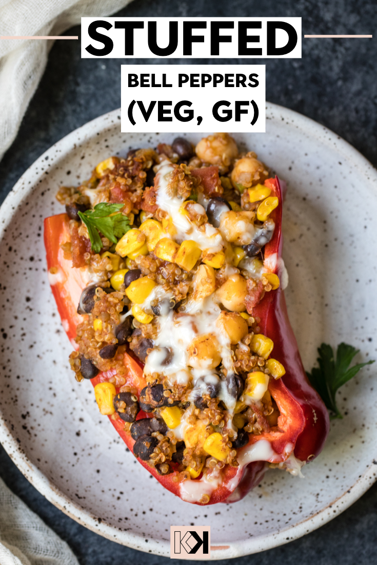 Spicy Vegetarian Quinoa Stuffed Bell Peppers Recipe Stuffed Peppers Autumn Recipes Vegetarian Vegetarian