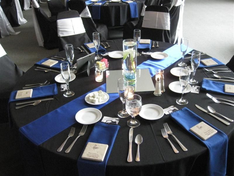 Royal Blue Satin Table Runner And Napkins Accent The Black