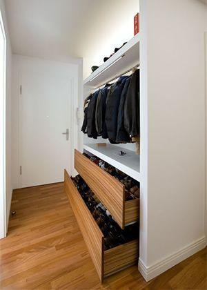 Schuhschrank Schuhschubladen Platzsparende System Unterteilung Garderoben Eingangsbereich Zimmergestaltung Ankleideraum Design
