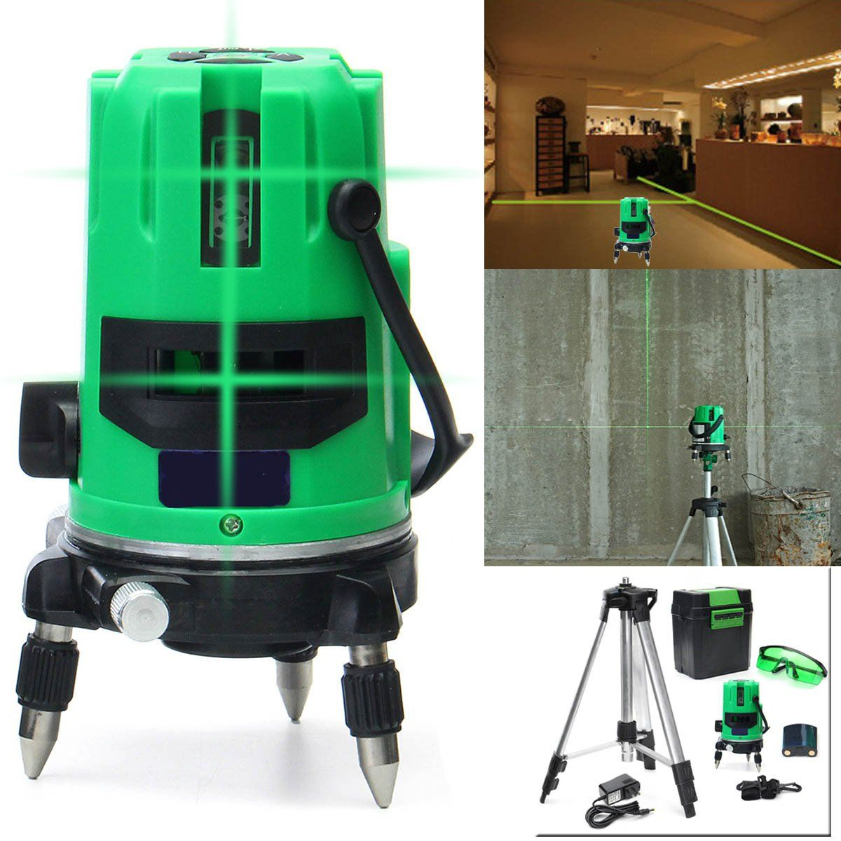 Green 3 Line 4 Points Laser Level 360 Rotary Laser Line Self Leveling With Tripod Features 3 Laser Lines 2 Vertical And Laser Levels Aluminium Alloy Rotary