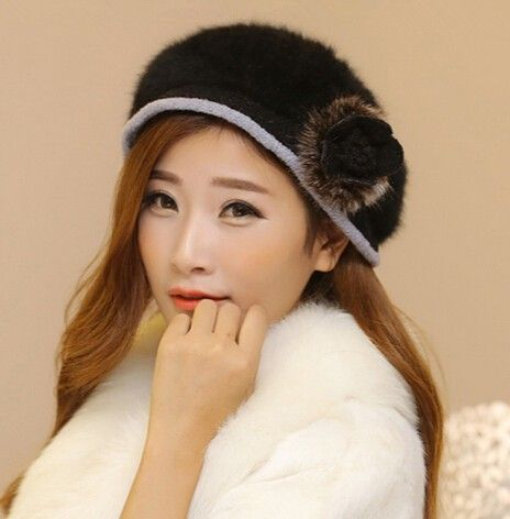 Winter flowers rabbit fur beret hats for women