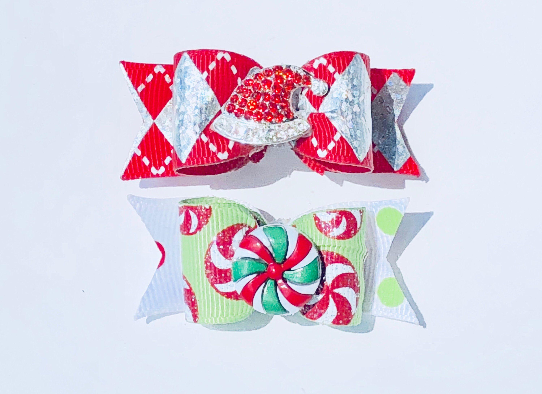 Dog Hair Bows- Christmas Hologram Argyle Rhinestone Santa Hat Dog Bow Glitter Peppermints Dog Bow Holidays Double Elastic Bands