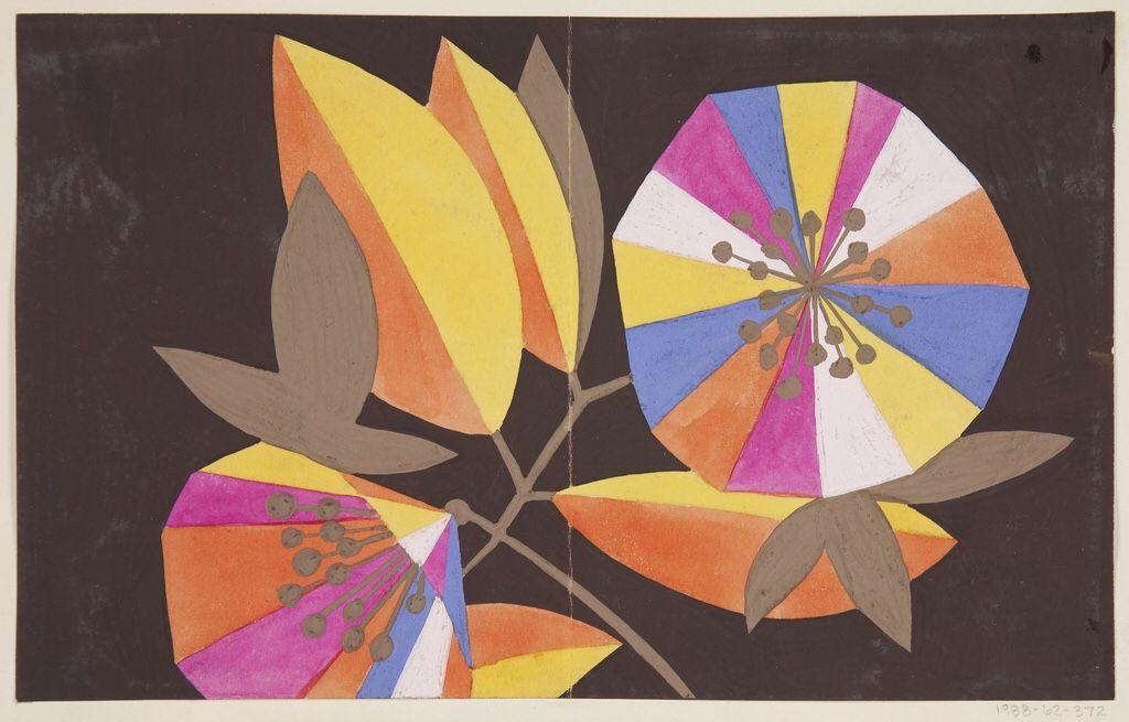 design-is-fine:  Maria Likarz-Strauss, design drawing Fidelio,1924. Brush and gouache. For Wiener Werkstätte, Vienna. Via Cooper Hewitt