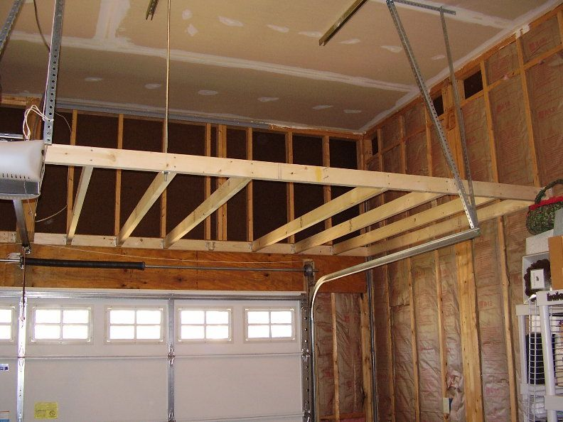 Garage storage loft how to support building for Diy garage storage loft