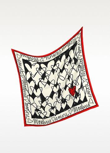 Moschino Archivio Moschino - Heart Print Silk Square Scarf