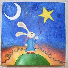 Bonne nuit peinture l 39 huile sur toile d coration pour chambre enfant b b toiles pour - Toile pour chambre bebe ...