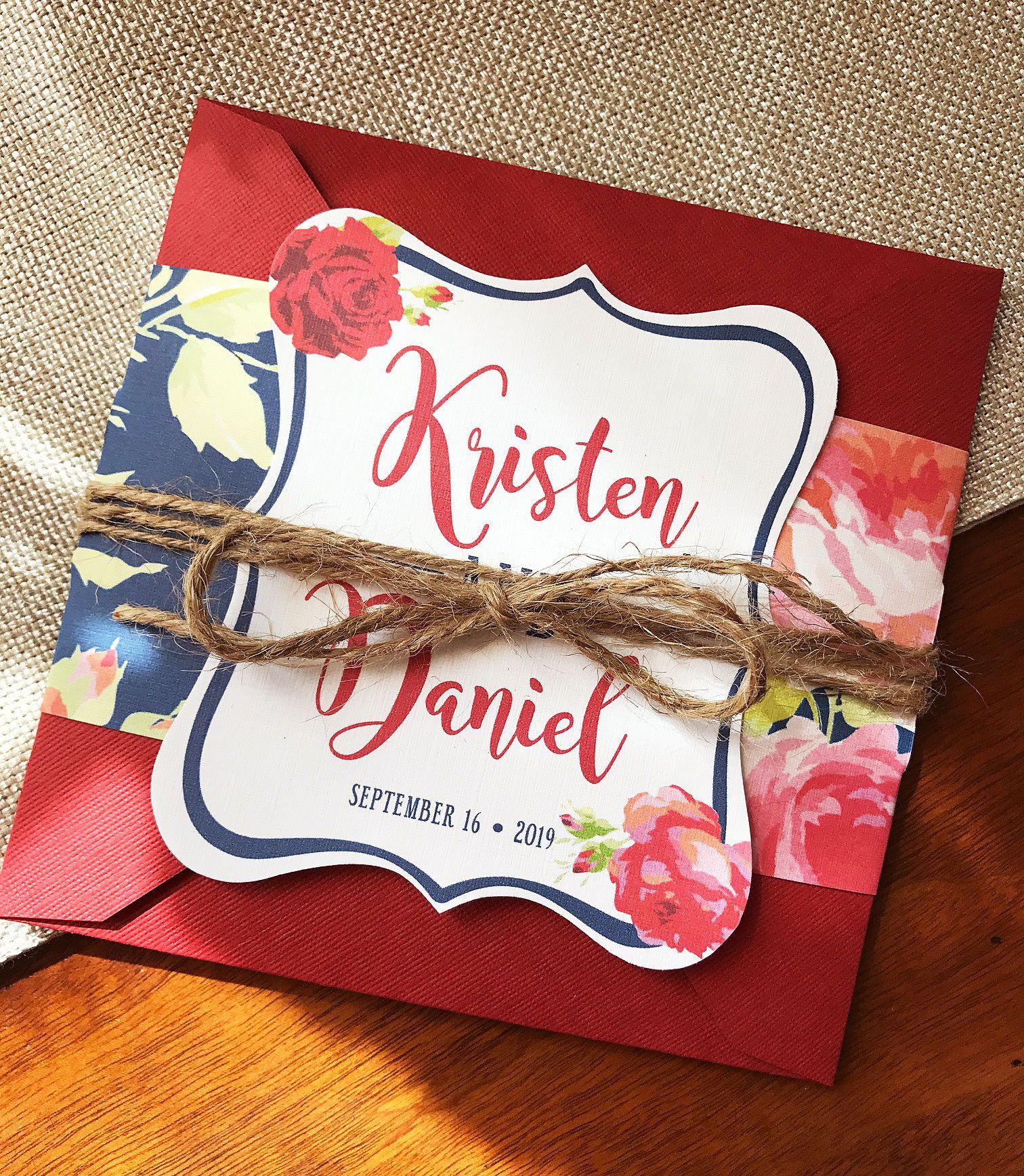 Navy and Red Floral Wedding Invitation, Pocket Wedding Invitation ...