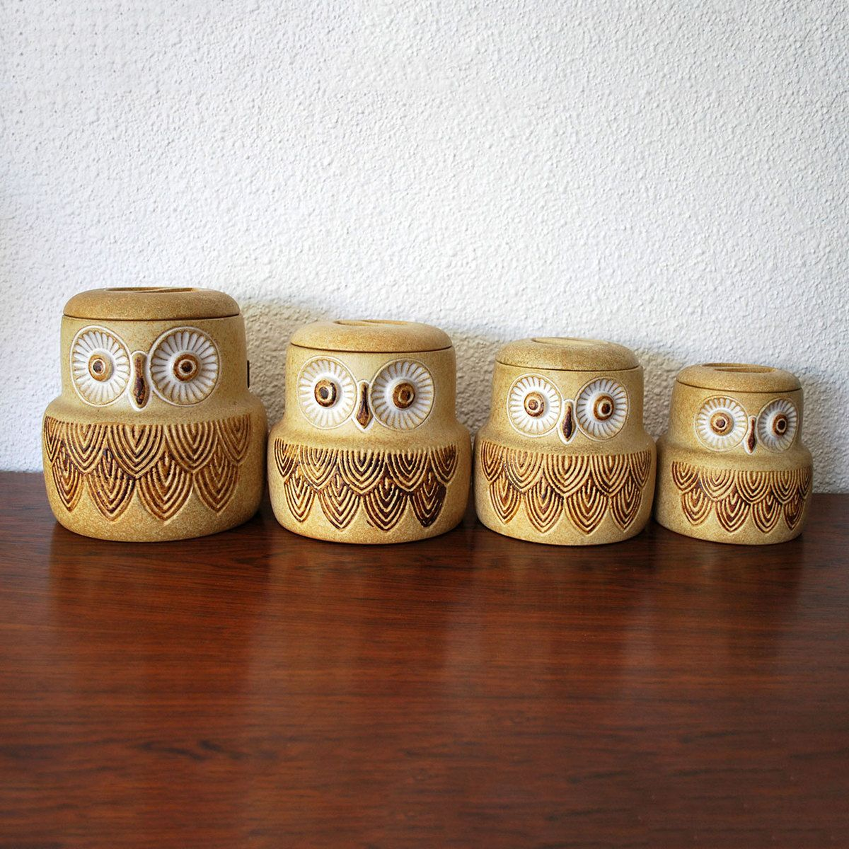 Owl Canisters For The Kitchen | Vintage Owl Canisters Set Of 4 Pottery Craft These Are Awesome
