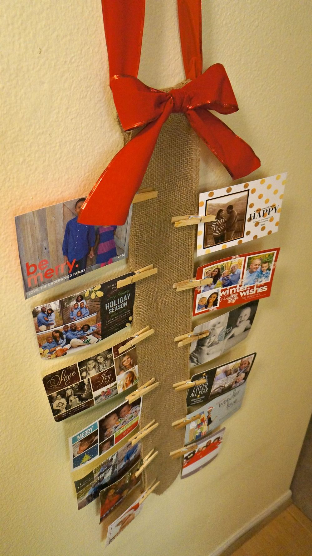 Diy Christmas Card Holder Made With Ribbon And Clothes Pins