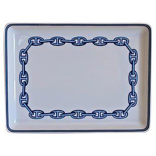 Hermès Chaîne d'Ancre Blue Tray w/ Box