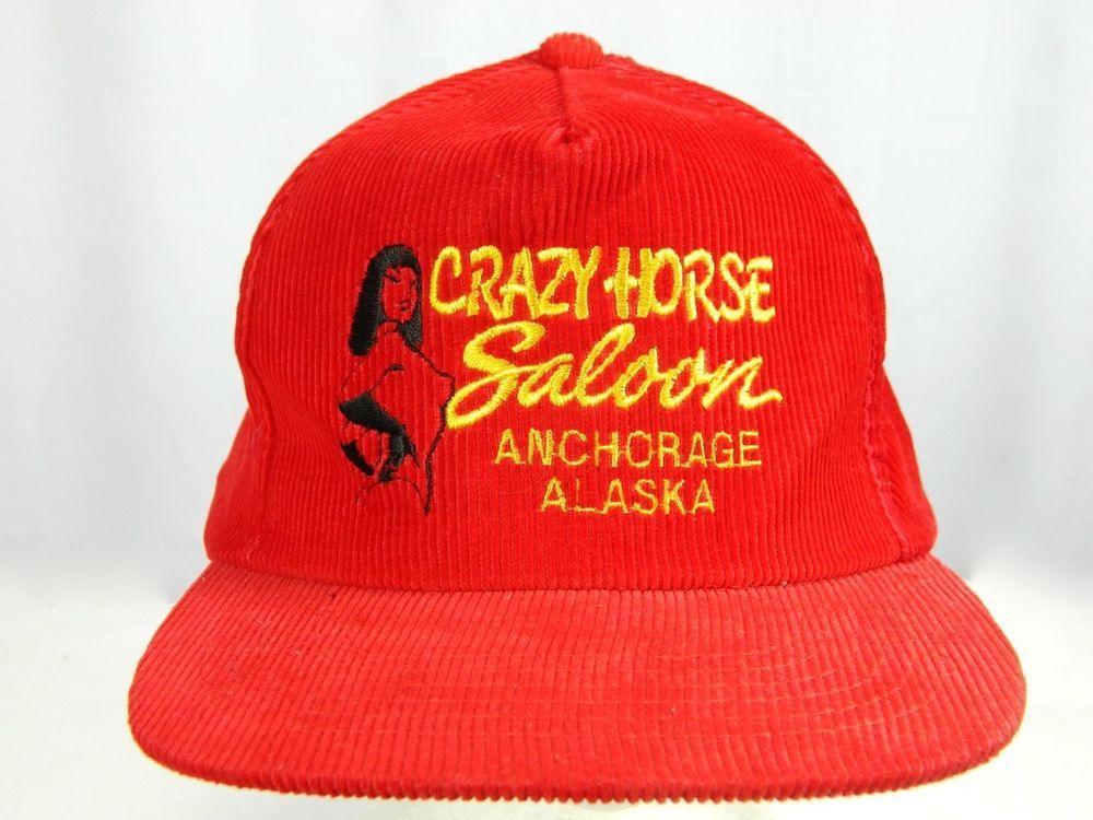 9849e41d6a5 Vintage Crazy Horse Saloon Anchorage Alaska Red Corduroy Snapback Hat Cap  Korea  Unknown  Cap