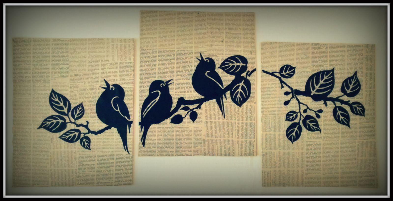 Vintage look DIY #newspaper #art: #wall art tattoos stuck on ...