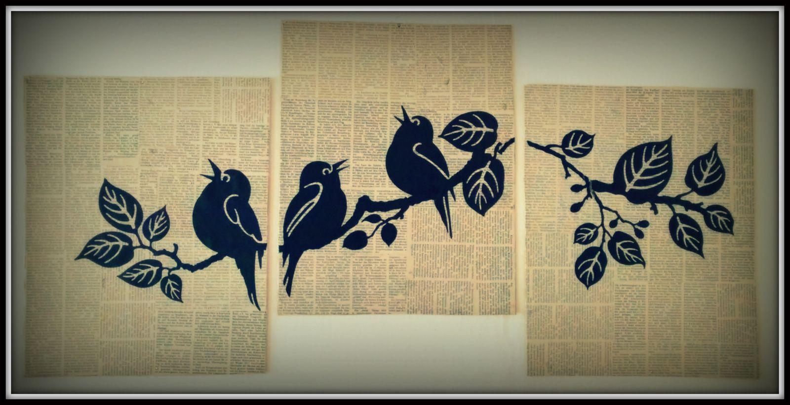 Vintage look DIY #newspaper #art: #wall art tattoos stuck on ...