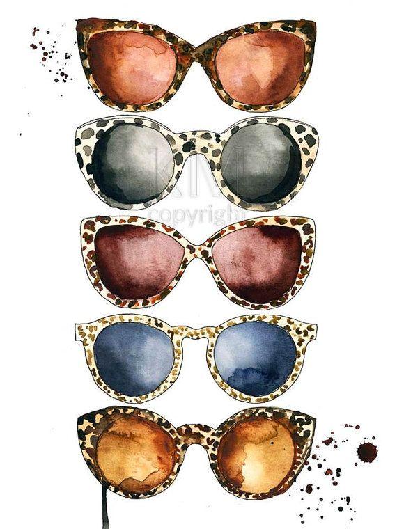 87667a8e968 Leopard Sunglasses, Ray Ban Fashion Illustration, Watercolor ...