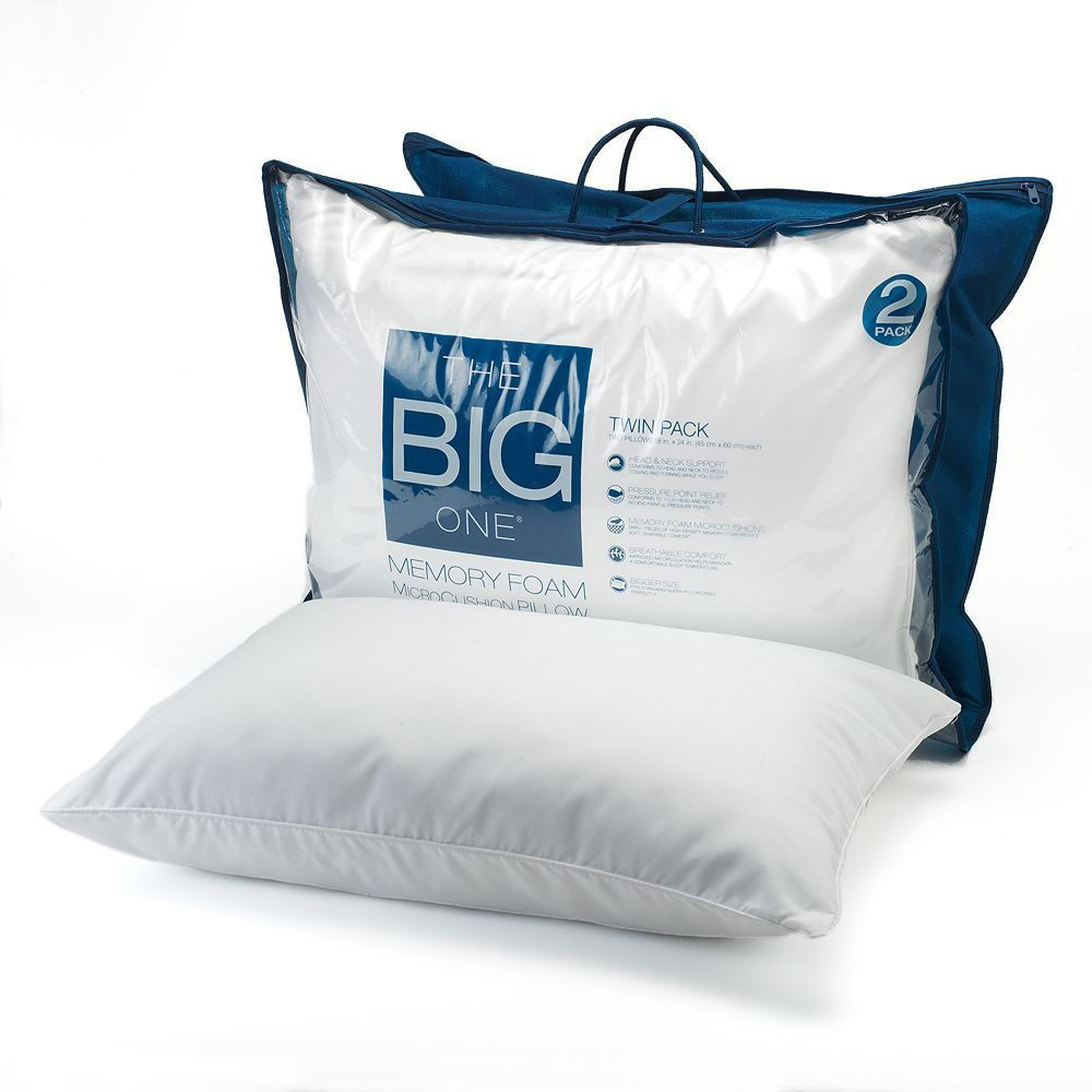 The Big Onea 2 Pk Gel Memory Foam Bed Pillows Standard Queen