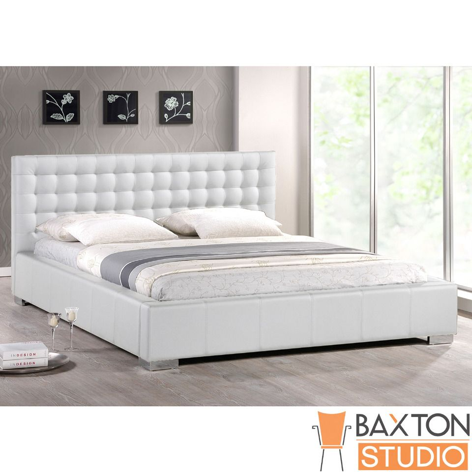 Baxton Studio Madison White Modern Queen Bed with Upholstered ...
