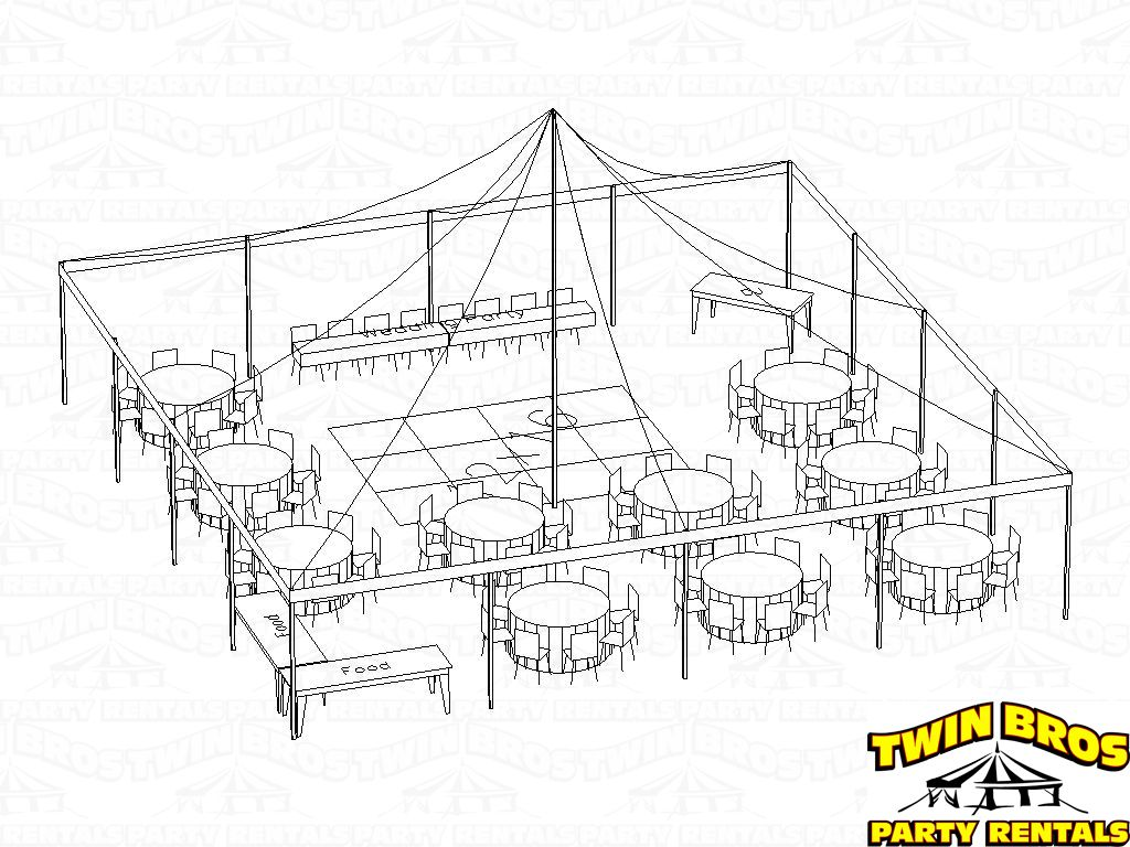 30x60 Tent Seating