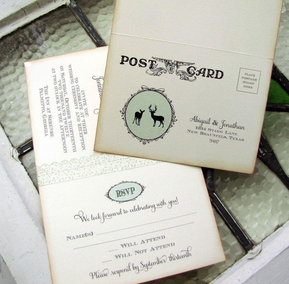 Rustic Woodland Wedding Invitation Set - Doe and Buck Silhouettes ...