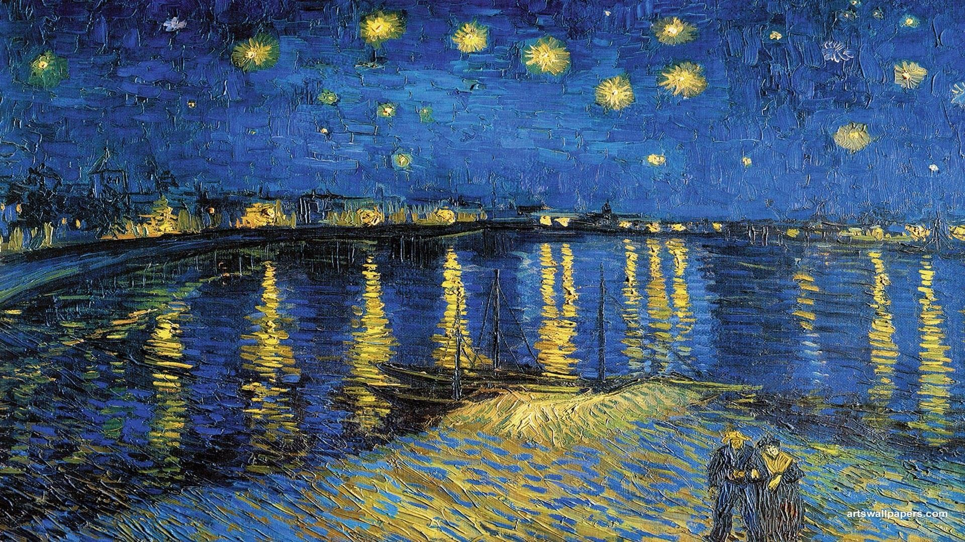 Wallpapers Starry Night Vincent Van Gogh Over The Rhone Wallpaper 1920x1080 Starry Night Van Gogh Van Gogh Wallpaper Van Gogh Paintings