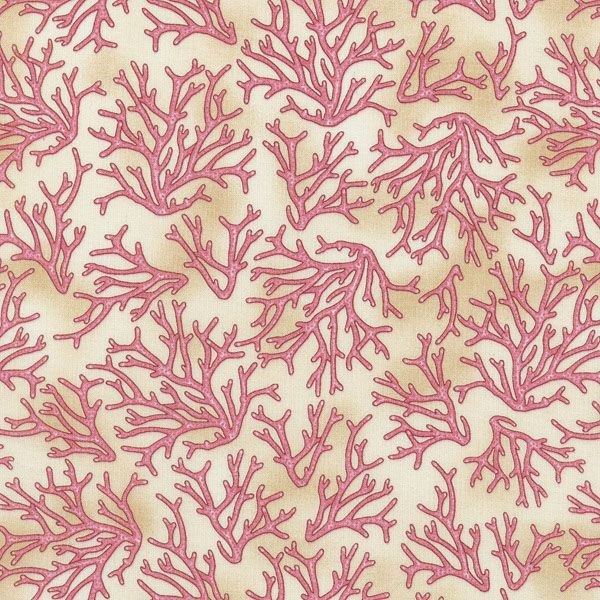 Pink Coral on Tan by RJR Fabrics 1215 02