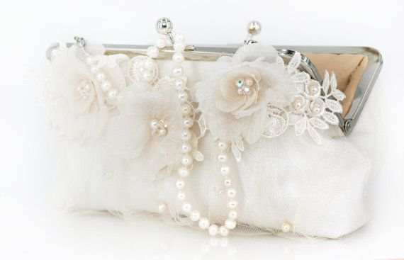 Ivory and Champagne duo tone Bridal Clutch with Alencon Lace Organza Flower in Ivory 8-inch LAFORET