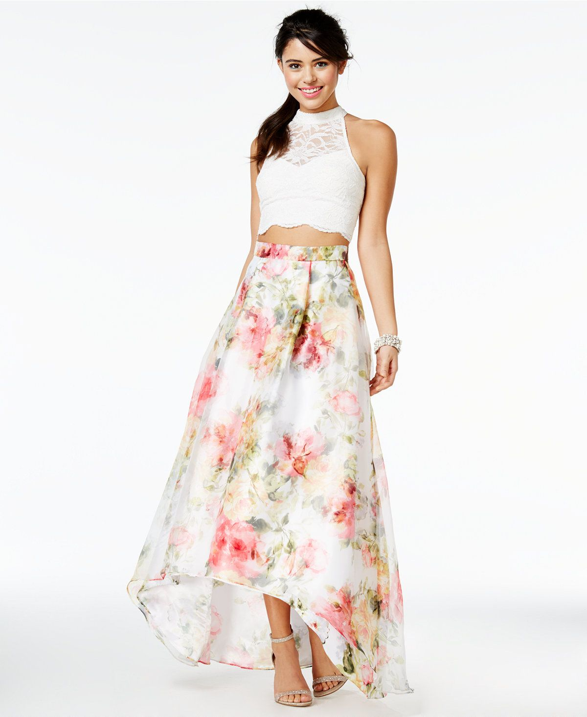 City Studios Juniors' 2-Pc. Floral-Print Halter Gown, A ...