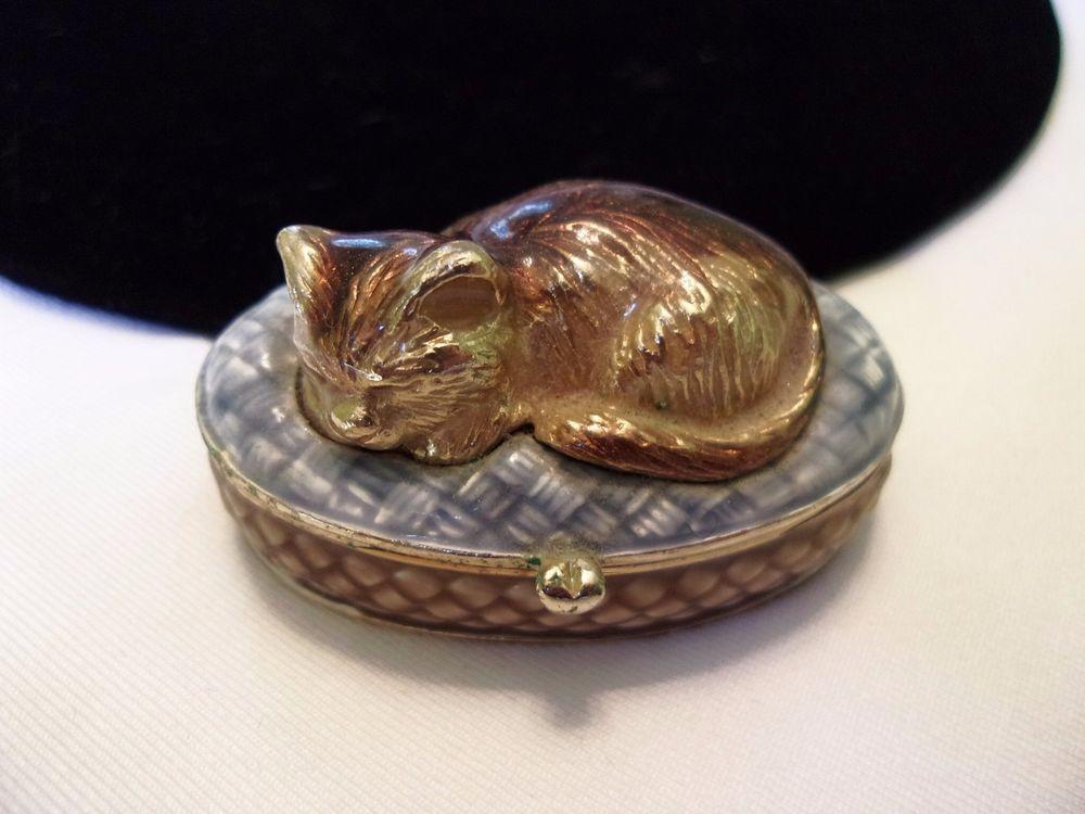 MONET Jewelry Box Sleeping Cat Kitten Enamel Trinket Pill Keepsake
