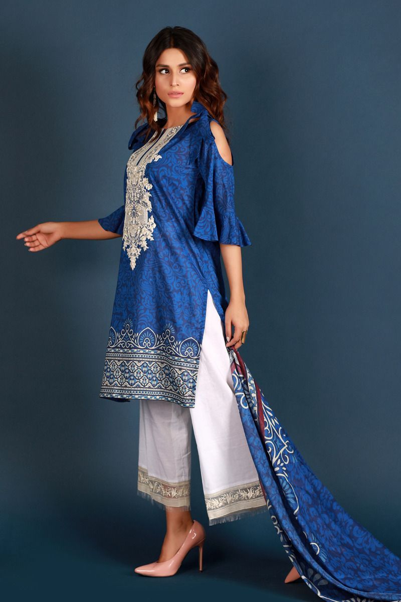 Vibrant And Trendy Blue Color Zellbury 2018 New Arrivals Three Piece Pakistani Stitched Lawn Dress Features A Digital Printed Lawn Shirt With Embroidery On Fron Dresses Print Chiffon Pakistani Dresses