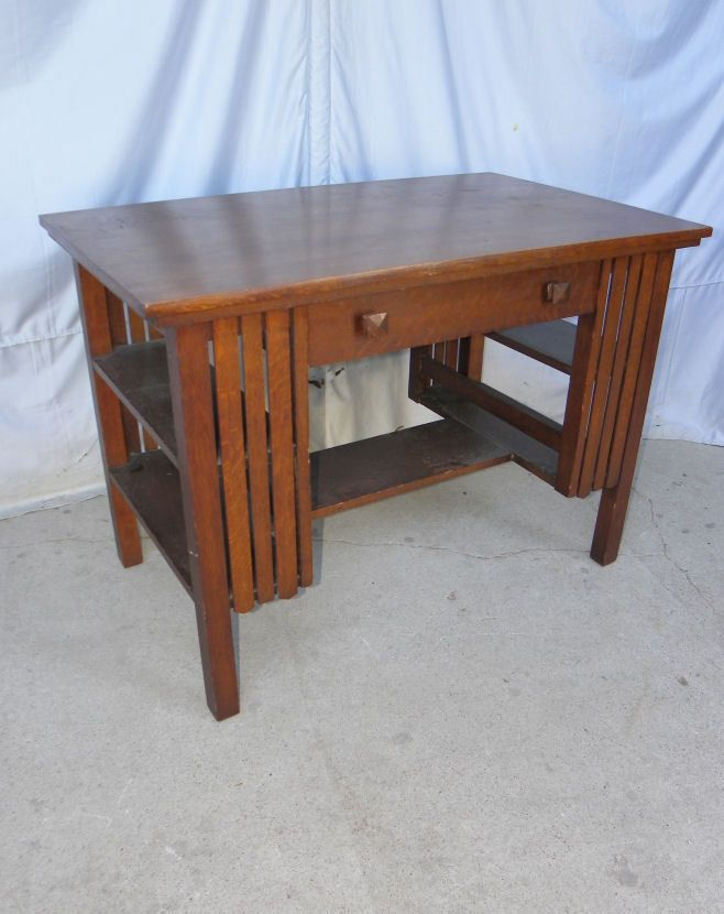 Antique Mission Oak Library Table Desk with bookshelf on ends Arts and  Crafts Bookshelf Desk, - Antique Mission Oak Library Table Desk With Bookshelf On Ends Arts