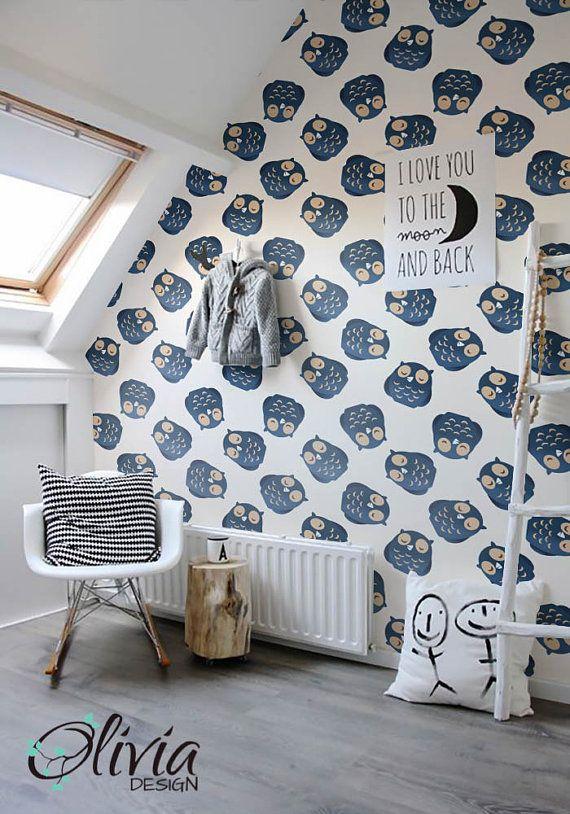 Owl Self adhesive wallpaper PEEL and STICK vinyl Nursery