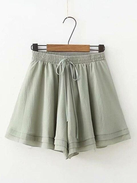 Women Casual Chiffon Shorts Ladies High Waist Short Pants With Belt...